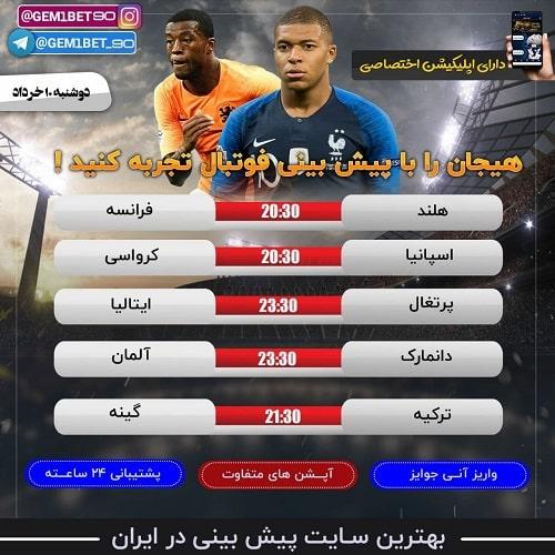 پیش بینی فوتبال امروز بازی های دوشنبه 10 خرداد 1400